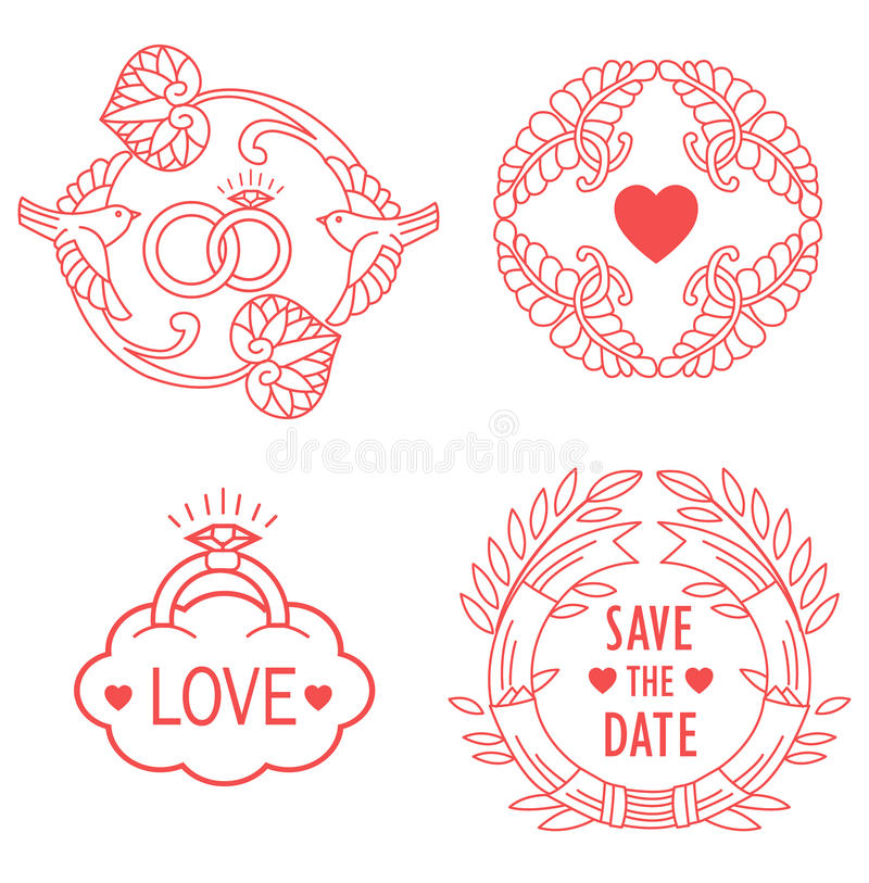 Wedding Monograms Line Design Elements For Invitation Decorate