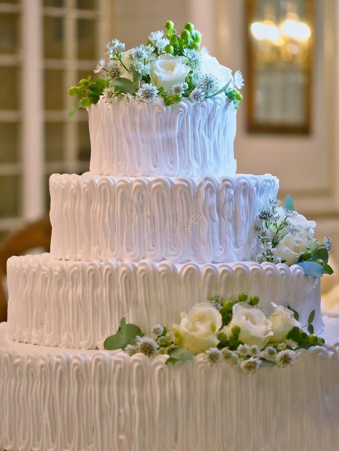 Wedding multilayer romantic ceremony cake royalty free stock photo