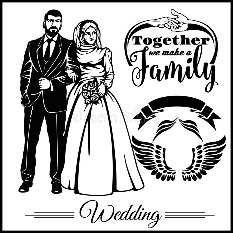 Wedding muslim couple silhouette groom and bride - vector stock vector illustration
