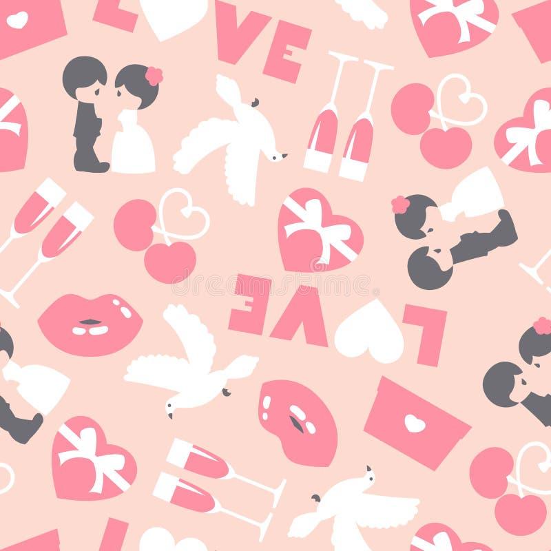 Wedding nahtloses Muster Valentinsgru?hintergrund auf rosa Hintergrund Gru?hochzeitskarte stock abbildung