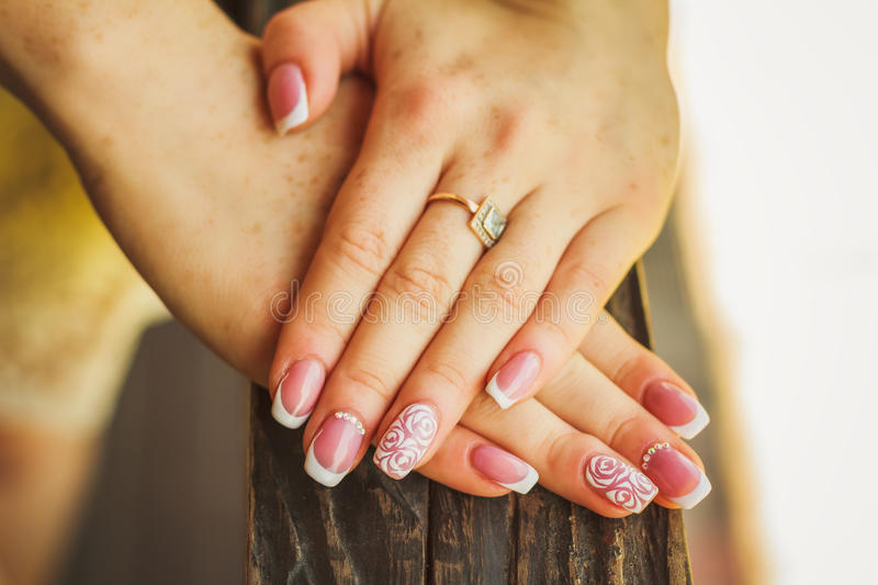 Wedding nail art with roses stock images