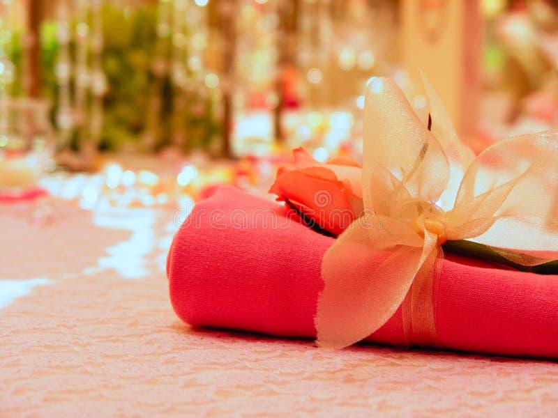 Wedding napkin stock photo
