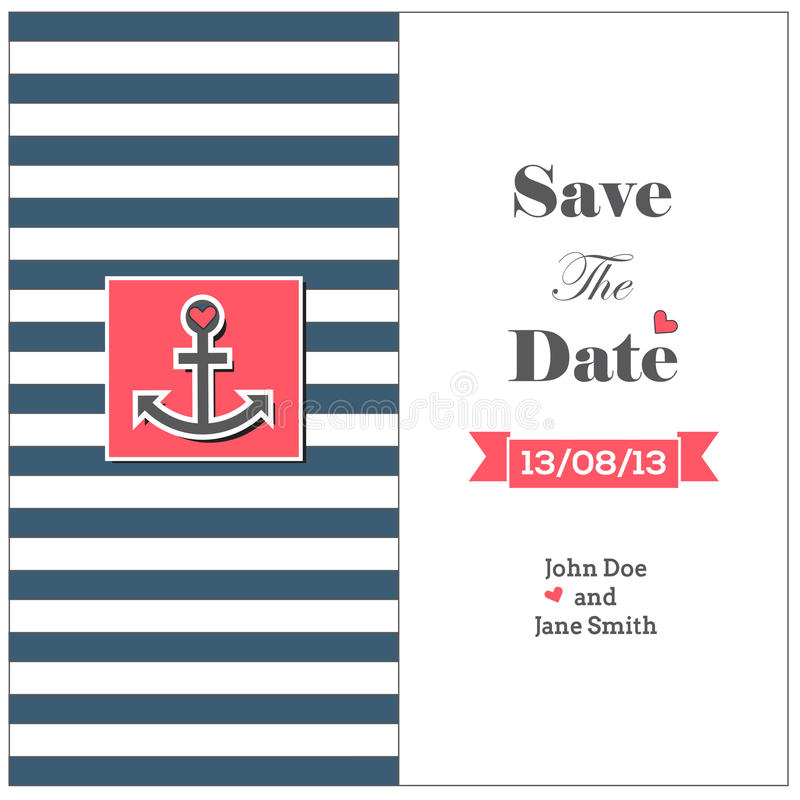 Wedding nautical invitation card with anchor vector illustration
