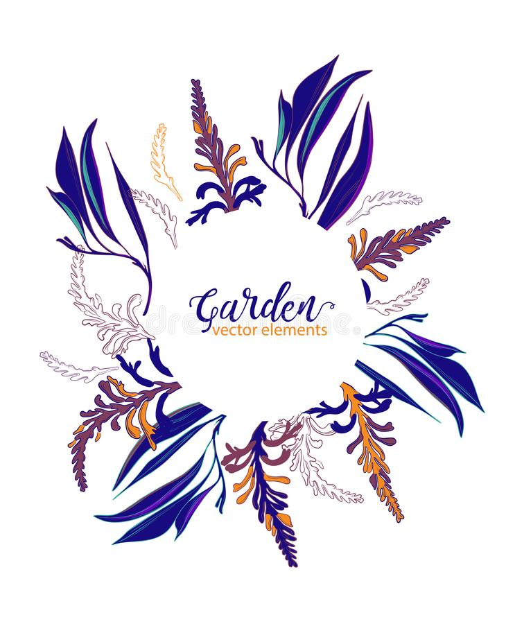 Wedding navy contrastfloral frame Save the date. Garden flowers and leaves illustration. Vector botanical wreath arrangements. stock illustration