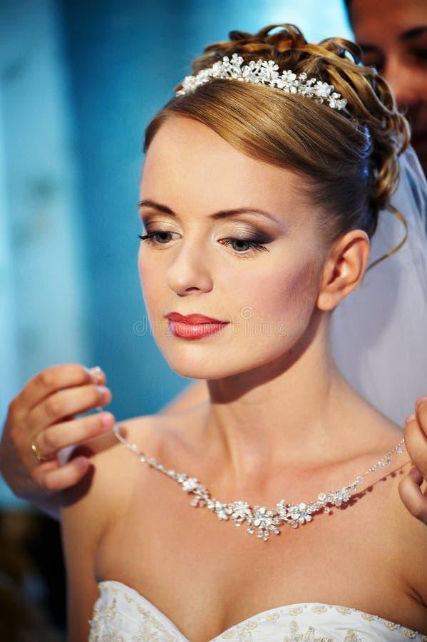 Wedding necklaces Brides stock image