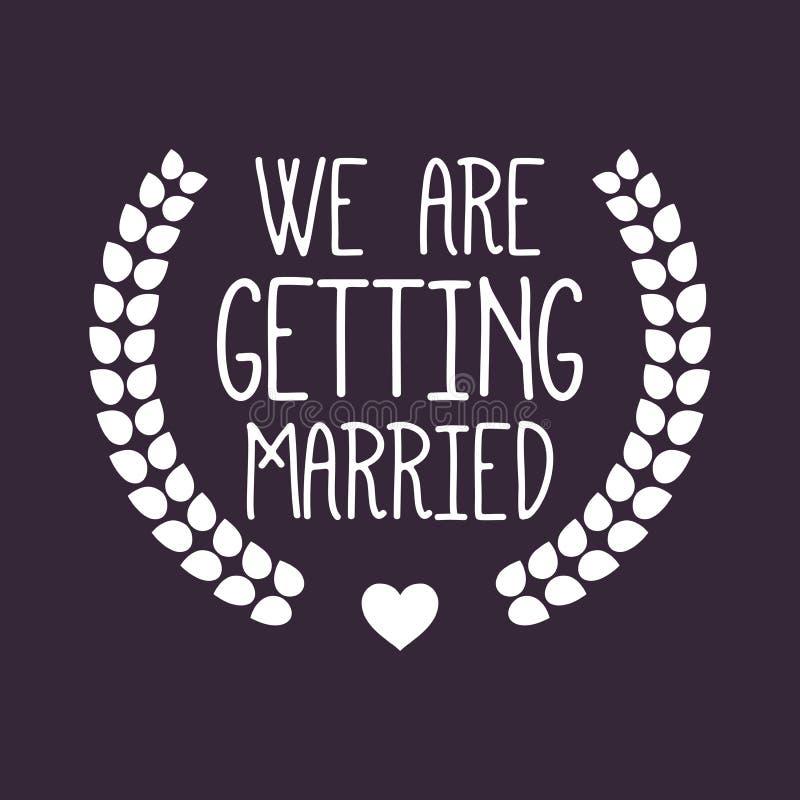 Wedding/We obtiennent le label/insigne mariés image stock