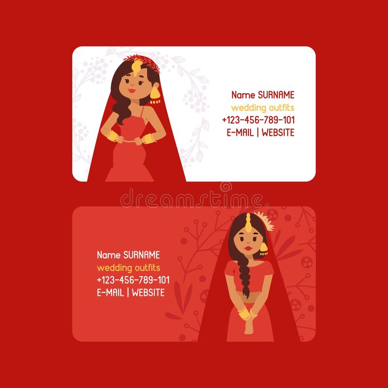 Wedding outfits set of business cards vector illustration. Beautiful indian woman wearing bridal clothing. Traditional royalty free illustration