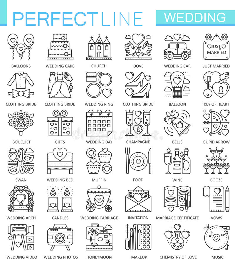 Wedding outline concept symbols. Perfect thin line icons. Modern linear stroke style illustrations set. vector illustration
