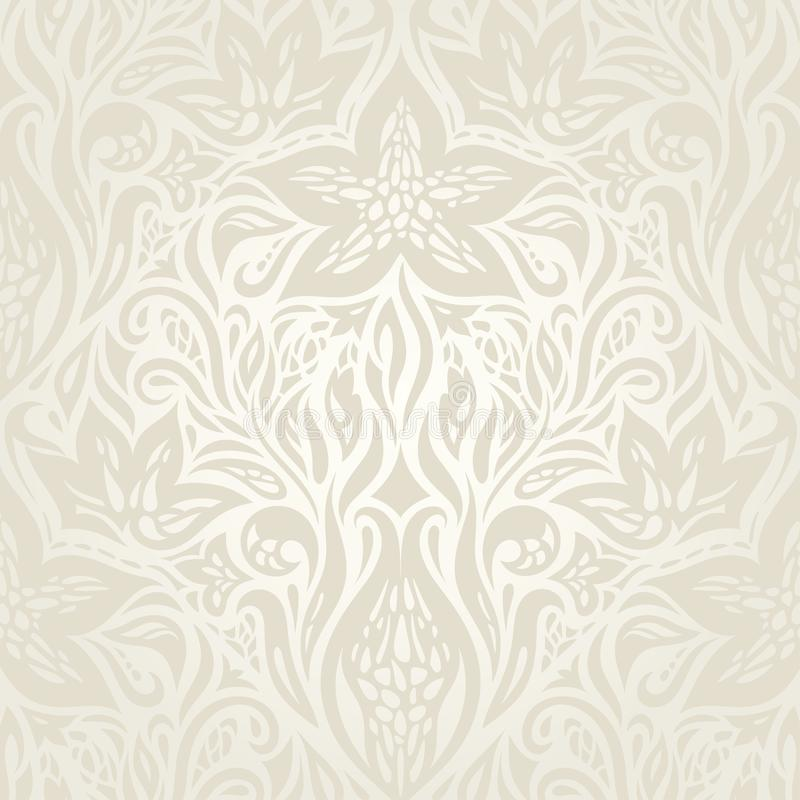Wedding pale floral pattern Retro floral ecru decorative vector royalty free illustration
