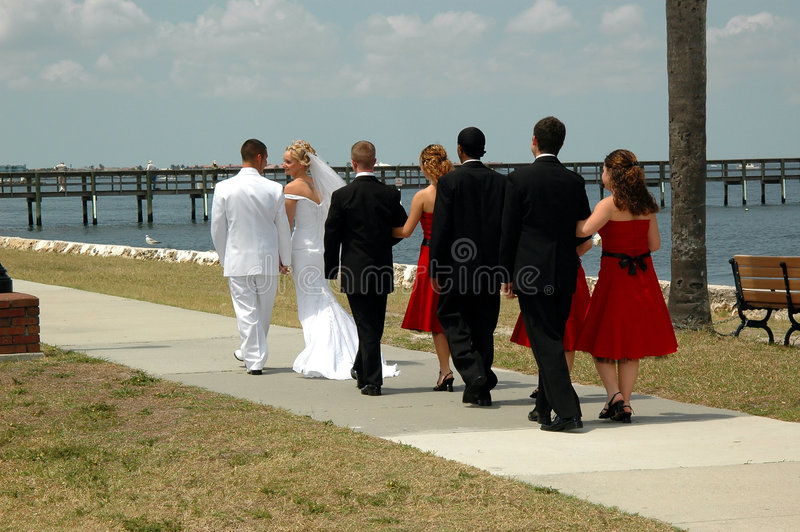 Wedding party. The wedding party walking outdoors by the sea together stock images