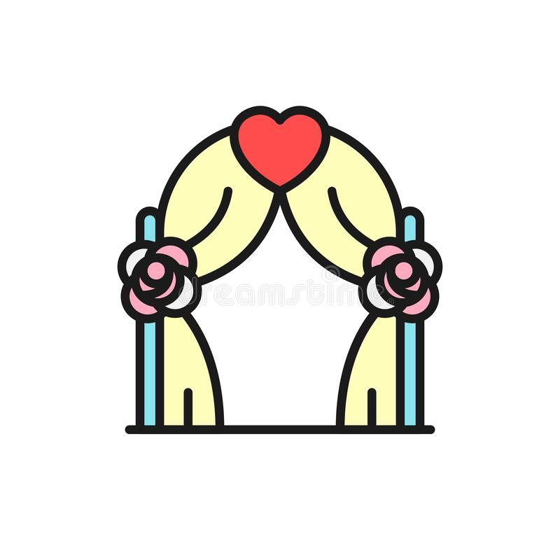 Wedding party arch icon. gate with love graphic illustration. simple clean monoline symbol. Eps 10 royalty free illustration