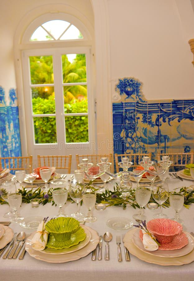 Event Dinner Party Tables Decoration, Wedding or Birthday Banquet, stock image