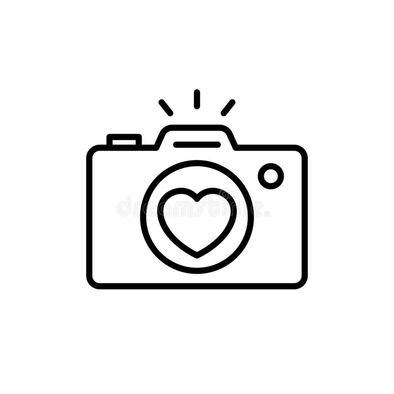 Wedding party camera photography documentation icon. camera with love lens illustration for wedding concept design. simple clean stock illustration