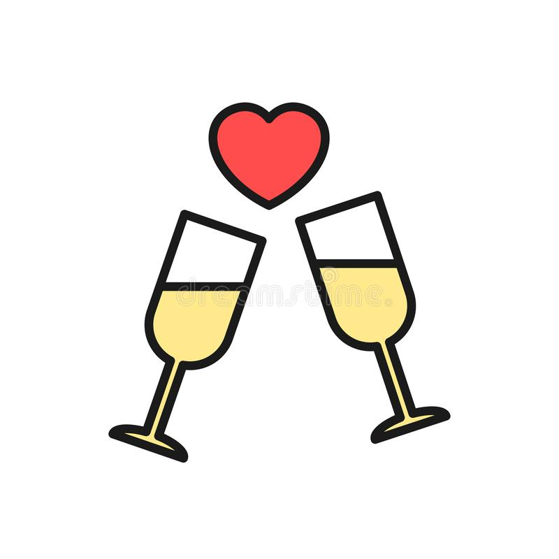 Wedding party drink icon. glass with love graphic illustration. simple clean monoline symbol. Eps 10 stock illustration