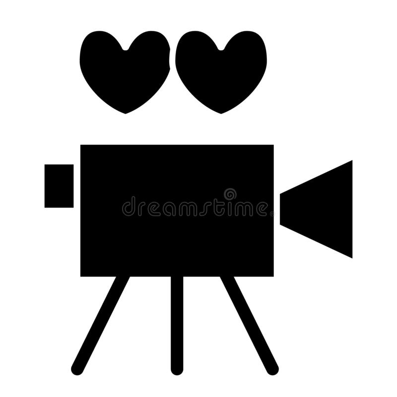 Wedding party film solid icon. Video camera pierced with arrow vector illustration isolated on white. Cinema camera. Glyph style design, designed for web and stock illustration