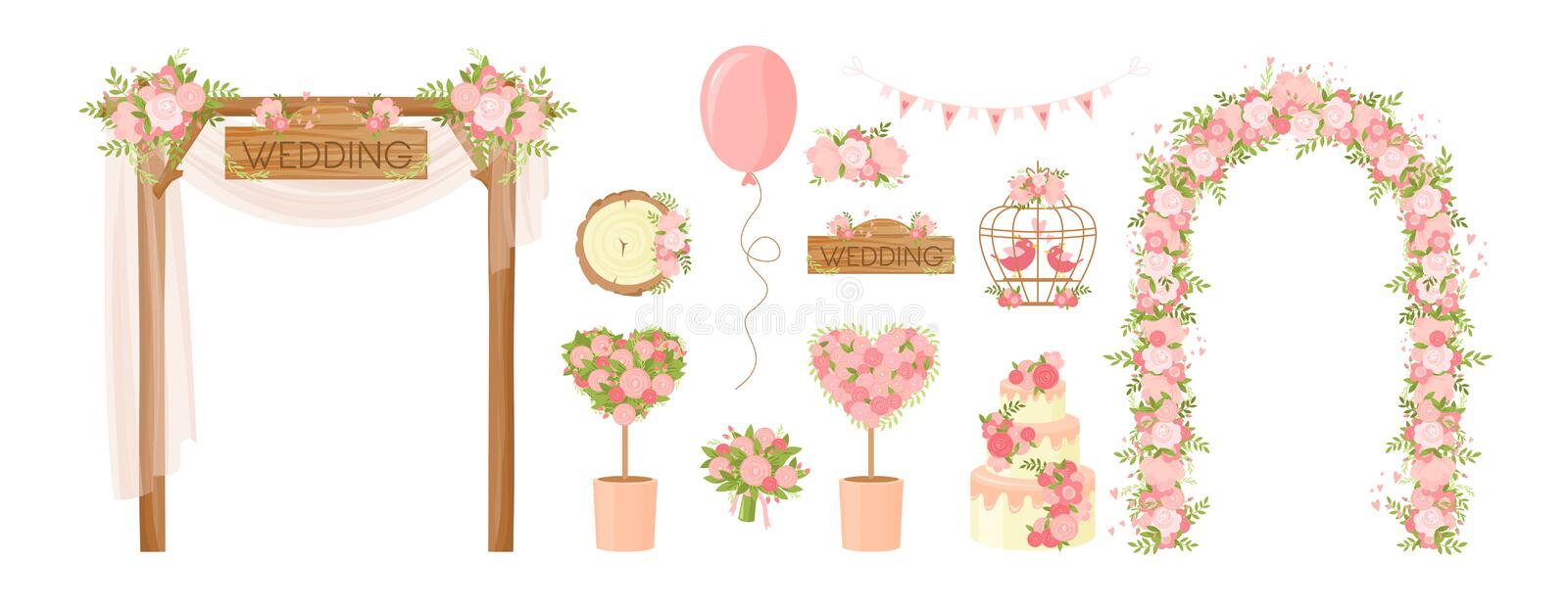 Wedding party flower decoration items set in flat cartoon style stock photography