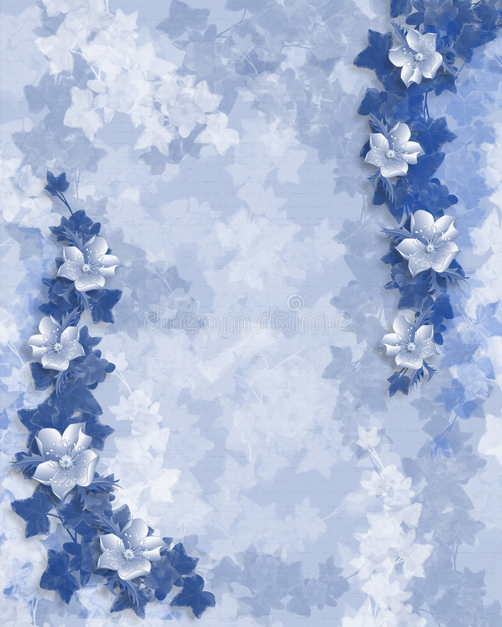 Download Wedding Or Party Invitation Floral Border Stock Illustration - Illustration of blue, invitation: 5193223