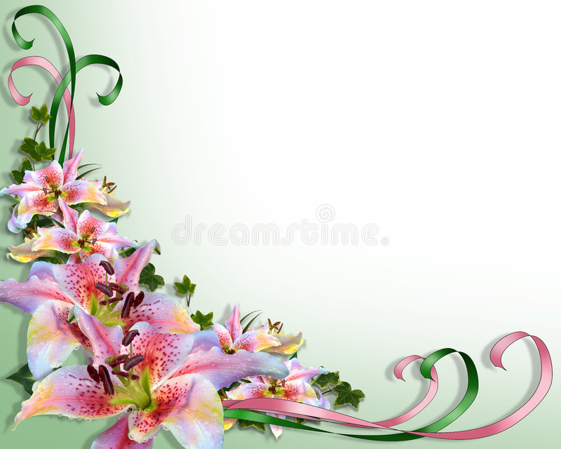Wedding or party invitation Lilies stock illustration