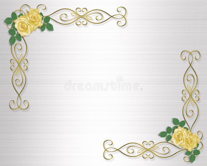 Wedding Party Invitation Yellow Roses Stock Illustration - Image ...