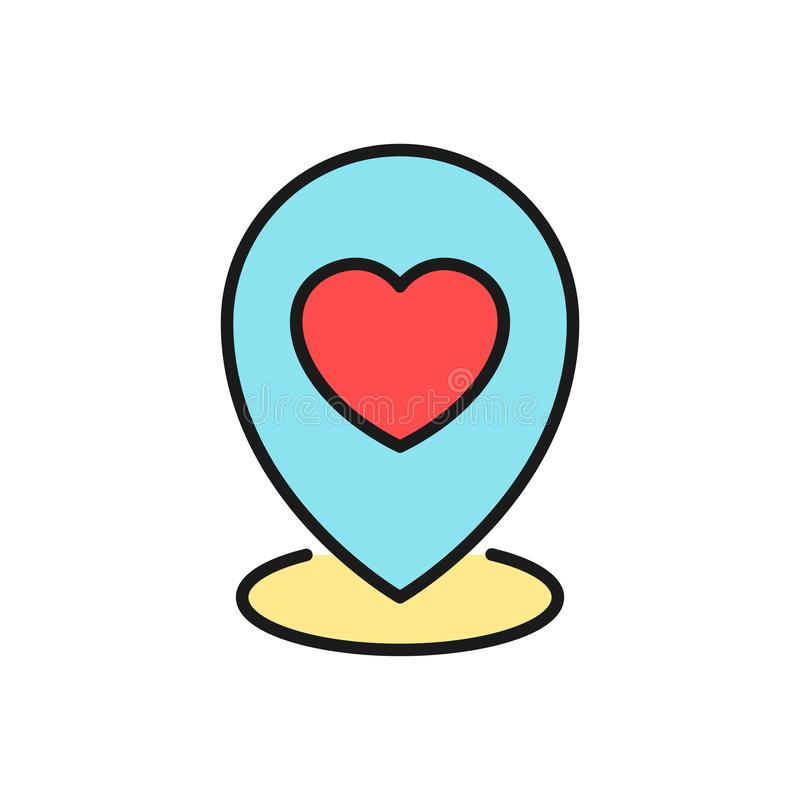 Wedding party map location icon. pin locator with love graphic illustration. simple clean monoline symbol. Eps 10 royalty free illustration