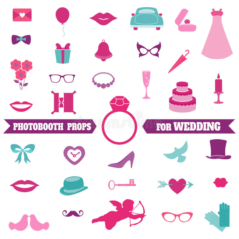 Free Wedding Party Set - Photobooth Props Stock Photo - 37869880