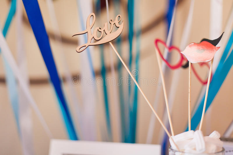Wedding party set. Photobooth Props royalty free stock photos