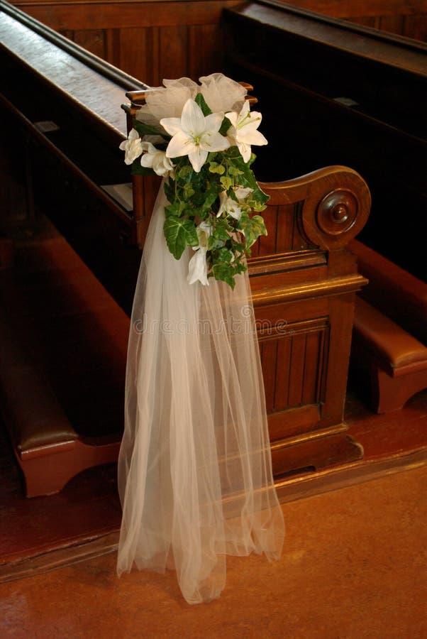 Wedding Pew Bow Stock Image Image Of White Bridal Wood