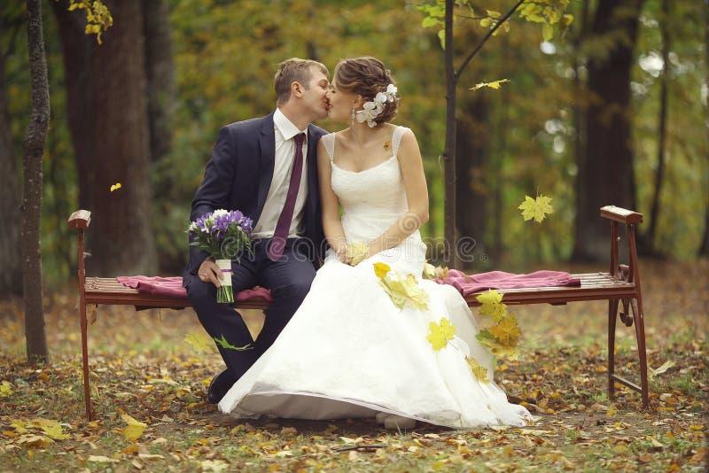 Wedding photo of bride and groom stock photos