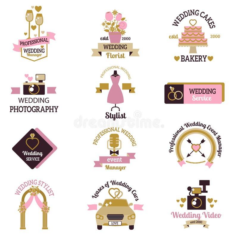 Wedding photo or event agency logo badge camera photographer vintage template vector illustration. stock illustration