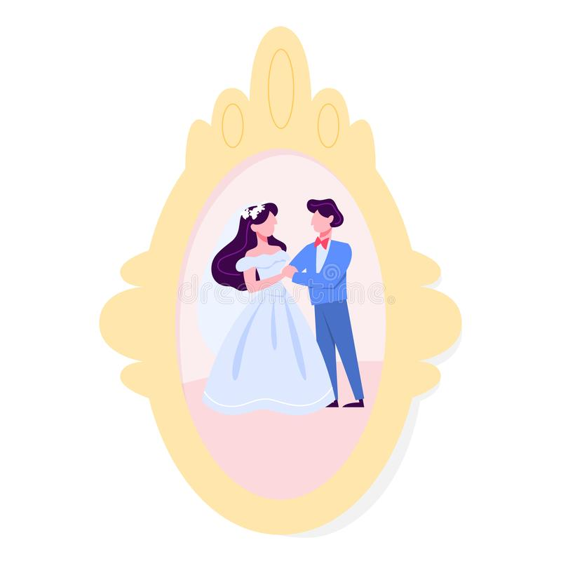 Wedding photo in the frame. Happy beautiful bride and groom stock illustration