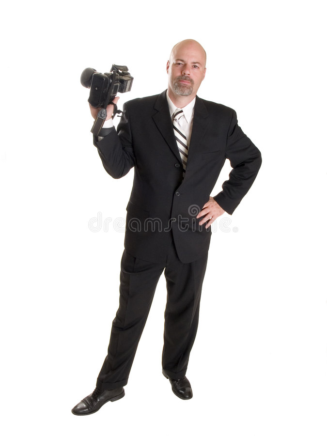 Wedding photographer. Stock photo of a well dressed wedding photographer. Full length, isolated on white stock image