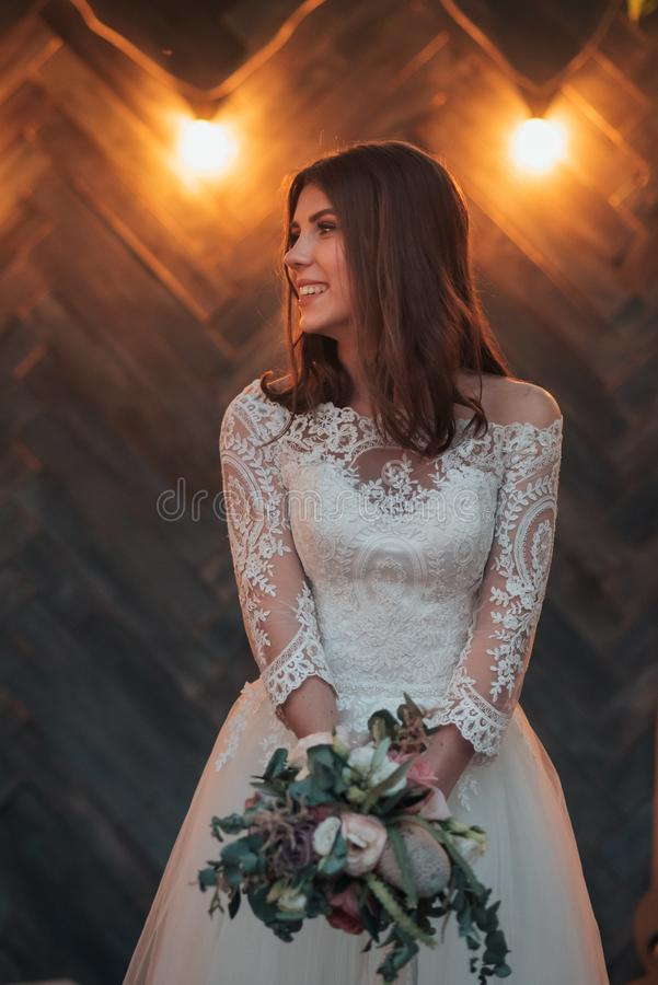 Wedding photography in rustic style emotions of the bride on the nature on the rocks.  royalty free stock photos