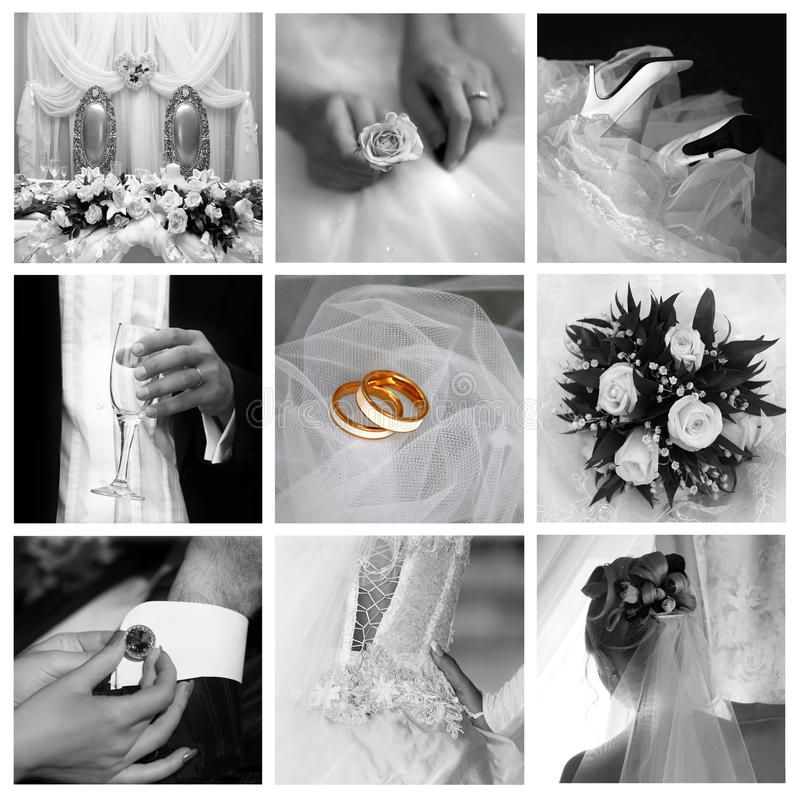 Wedding photos. Collage of nine wedding photos in gentle royalty free stock photos