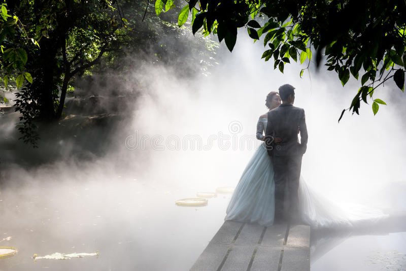 Wedding Photos in Fog. Two young men were taking wedding photographs with mist background stock photo