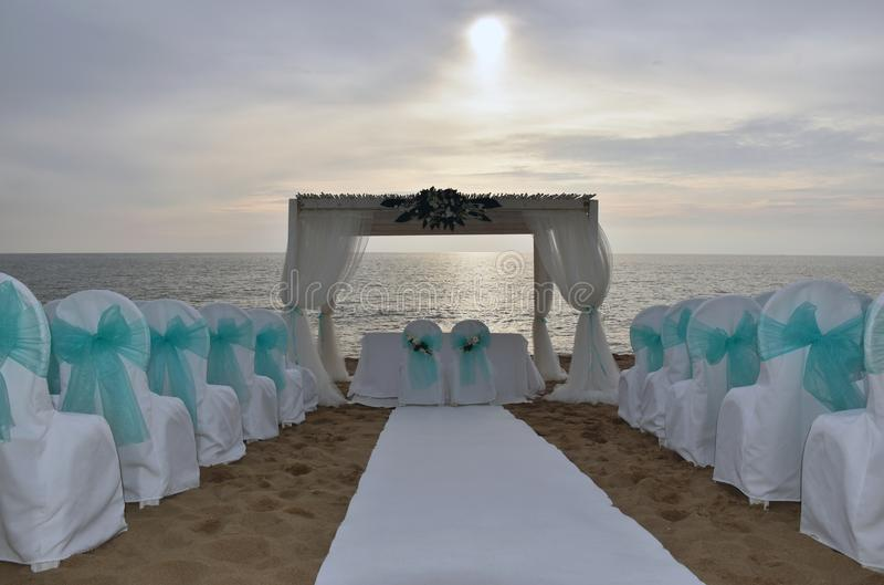 Wedding place on the beach. stock photography
