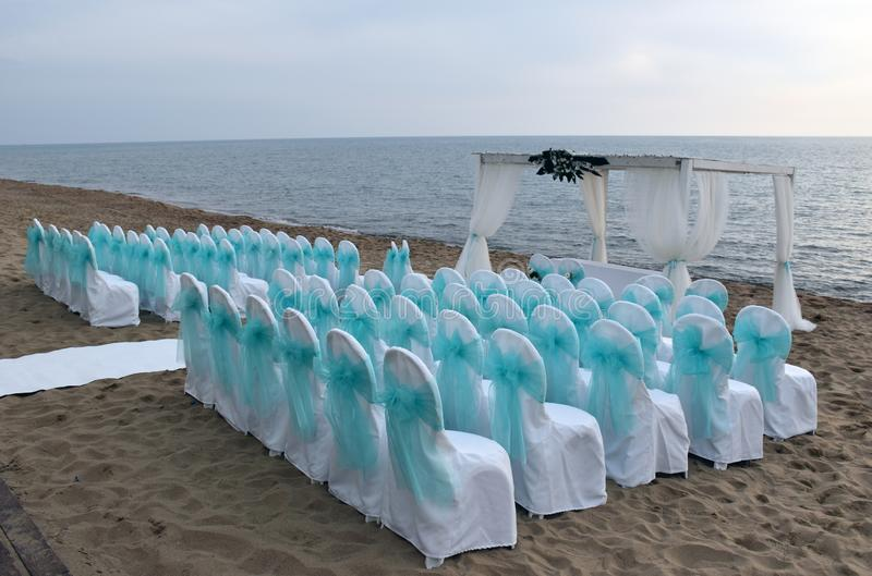 Wedding place on the beach. stock image