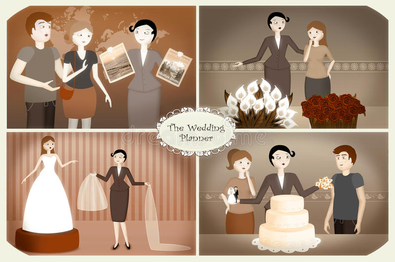 Wedding Planner. Helping a couple to organize their wedding. These illustrations represent some activities and assistance of the  services