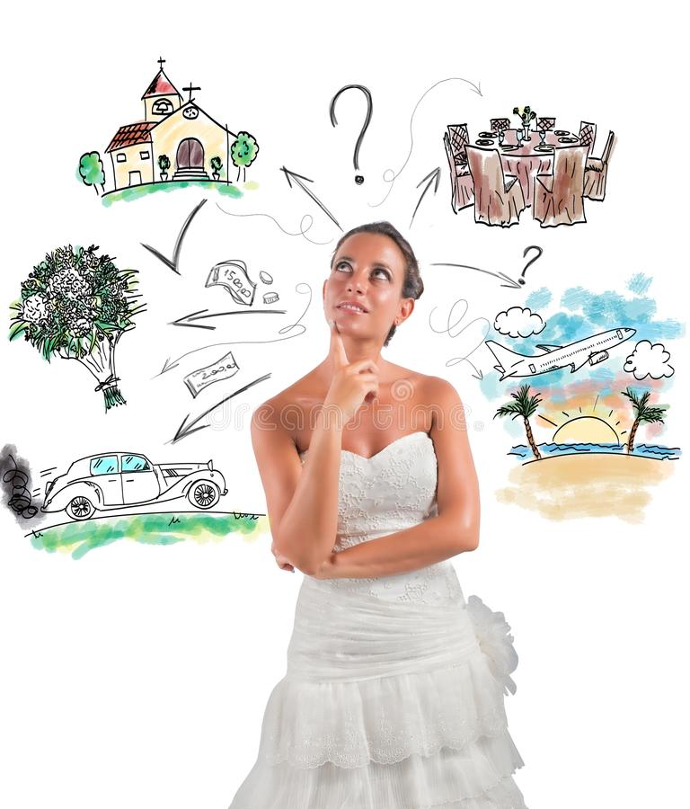 Wedding planner. Woman thinks how to organize her wedding royalty free stock photography