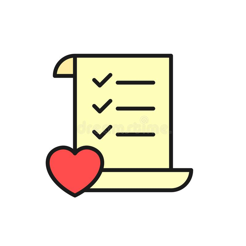 Wedding planning checklist icon. to do list paper with love illustration. simple clean monoline symbol design. Eps 10 vector illustration
