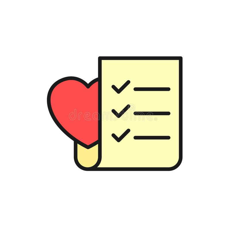Wedding planning checklist icon. to do list paper with love symbol. simple clean monoline illustration. Eps 10 vector illustration