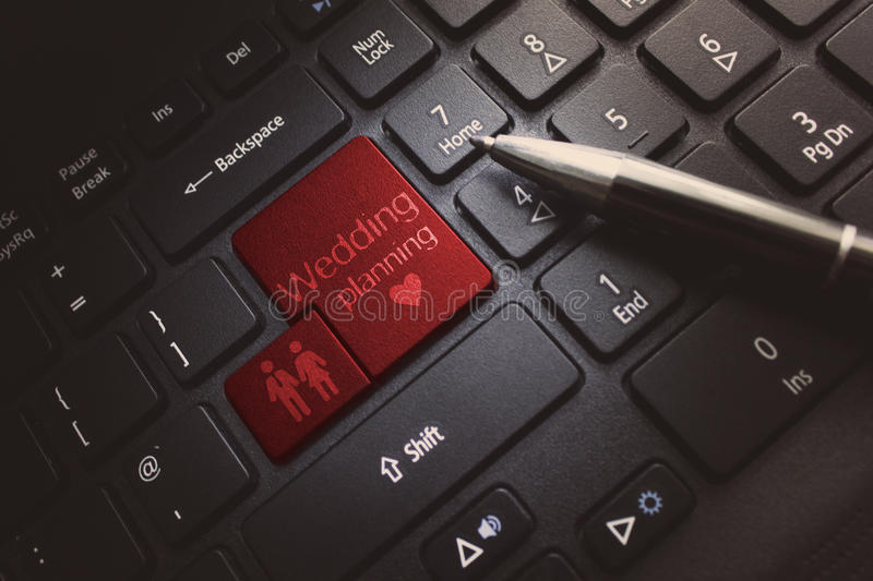 Wedding Planning. Keyboard concept whit icon and text royalty free stock photo