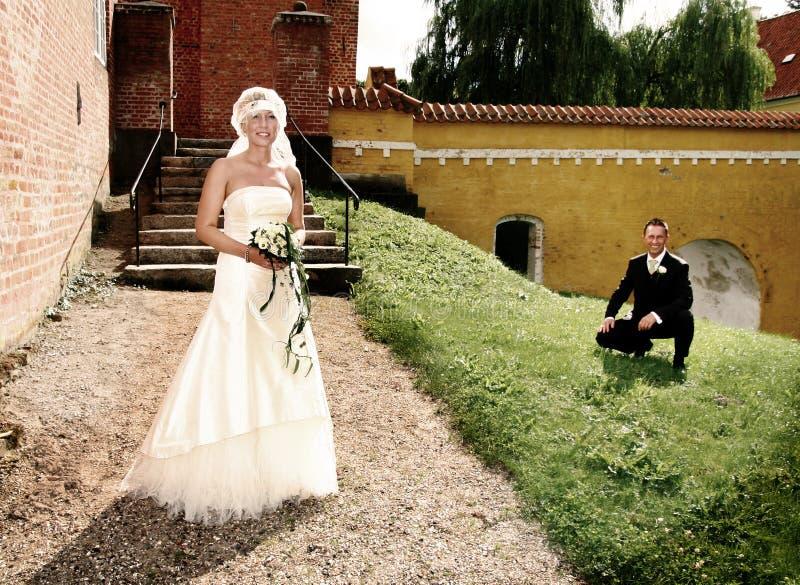 Wedding portrait garden royalty free stock photography