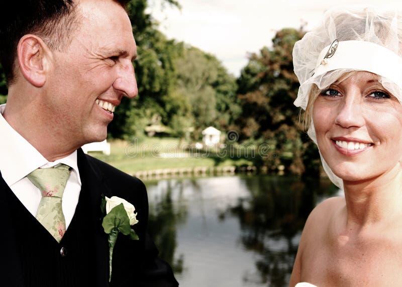 Wedding portrait river royalty free stock photography