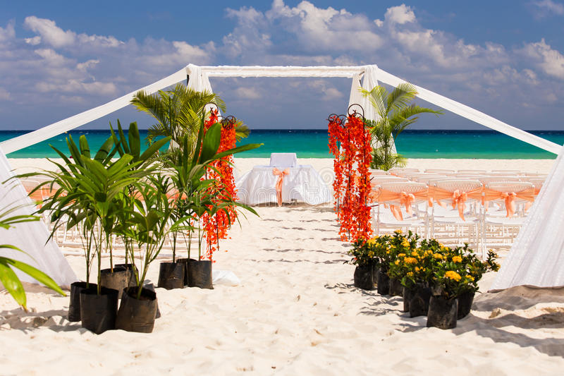 Wedding preparation on Mexican beach. Against a background of beautiful sea stock photos