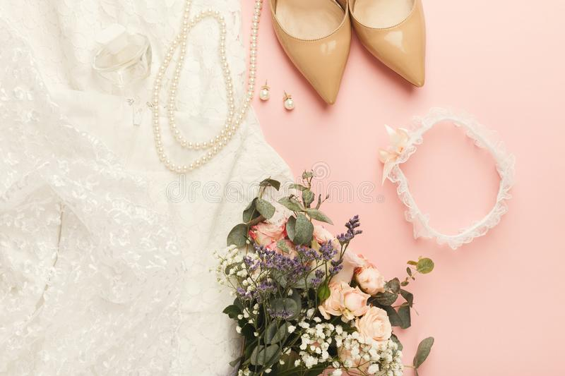 Wedding preparation top view royalty free stock image