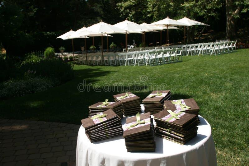 Wedding Programs. Sitting on a table stock photo
