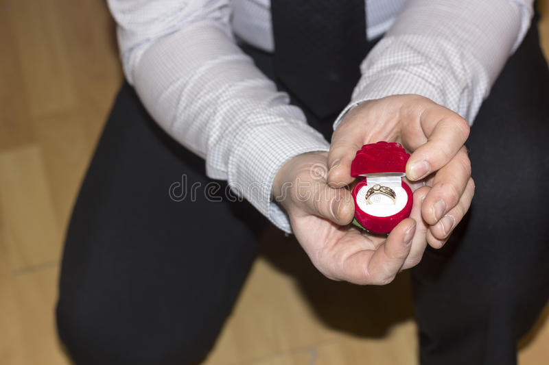 Wedding proposal with a lovely ring. Businessman proposing a marriage, kneeling and offering a diamond ring to his future wife stock photo