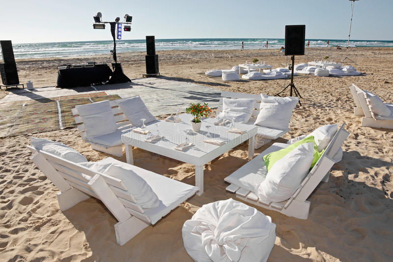 Wedding reception on the beach, outdoor. stock image