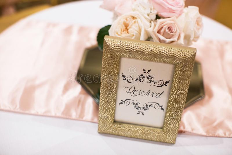 Wedding Reception Bride and Groom Reserved Table stock images