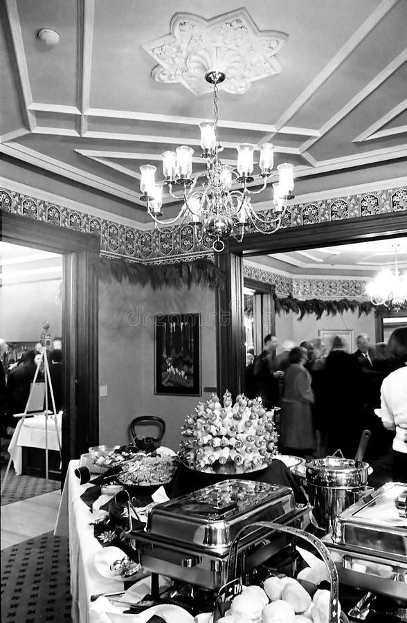 Wedding reception food. Food on table at wedding reception stock photos